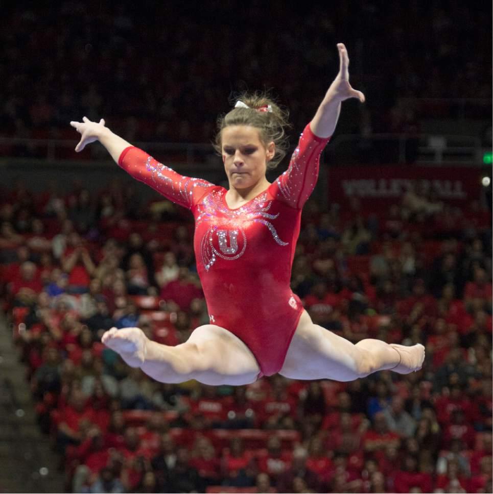 Rick Egan  |  The Salt Lake Tribune  Missy Reinstadtler competes on the beam for the Utes, in gymnastics action, Utah vs UCLA, at the Huntsman Center, Saturday, February 18, 2017.