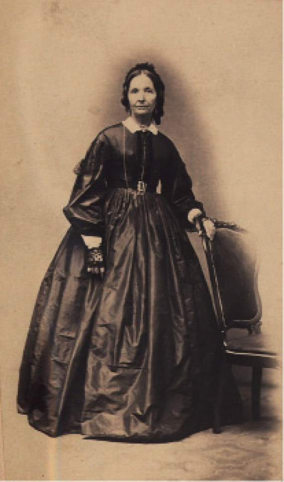 photo courtesy The Church of Jesus of Christ of Latter-day Saints  Celebrated poet Eliza R. Snow posed for this photo in 1866, two years before her husband, Brigham Young, commissioned her to assist in organizing local branches of the Relief Society in Utah. Snow was the first secretary of the Relief Society.