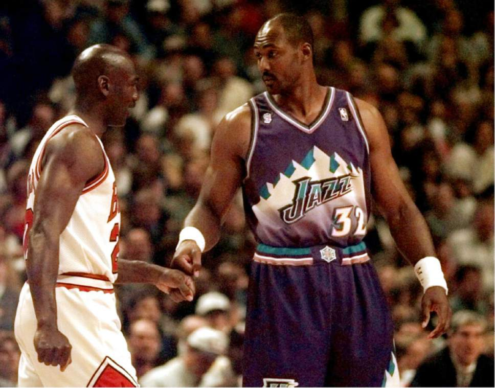 Beth A. Keiser  |  AP Photo  Chicago Bulls' Michael Jordan and Utah Jazz' Karl Malone greet each other before Game 1 of the NBA Finals Sunday, June 1, 1997, in Chicago. Malone was named the league's MVP ahead of Jordan for the season.