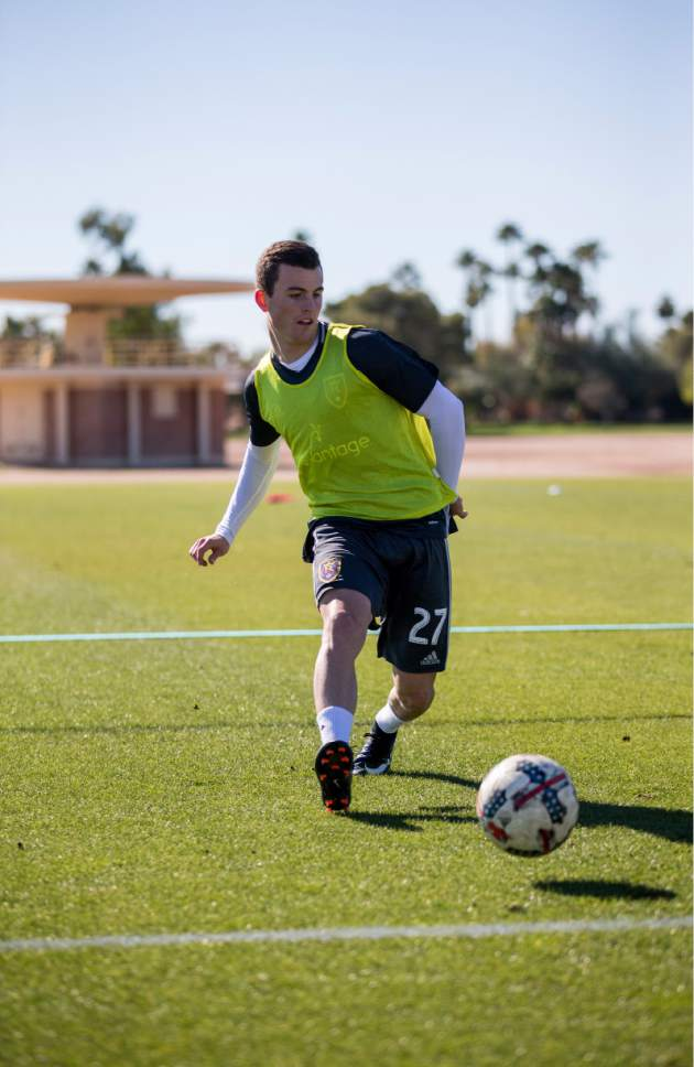 Bobby Hitz  |  RSL  Brooks Lennon, on loan at RSL in 2017 from Liverpool FC, makes a pass in RSL's preseason stop in Casa Grande, Ariz., last month.