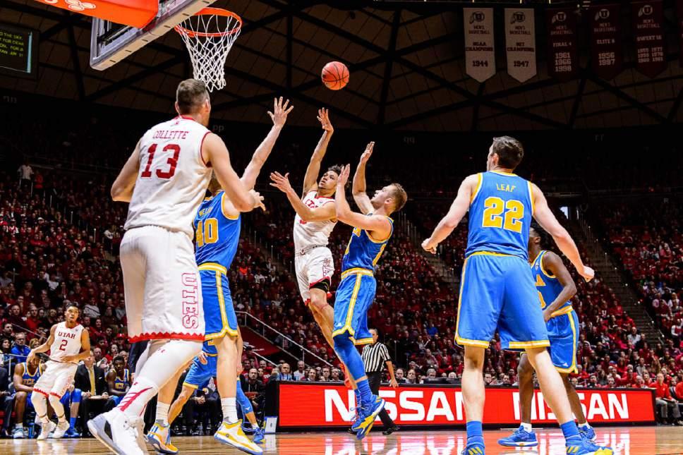 Trent Nelson     The Salt Lake Tribune Utah Utes guard Devon Daniels (3) shoots the ball as the University of Utah hosts UCLA, NCAA mens basketball at the Huntsman Center in Salt Lake City, Saturday January 14, 2017.