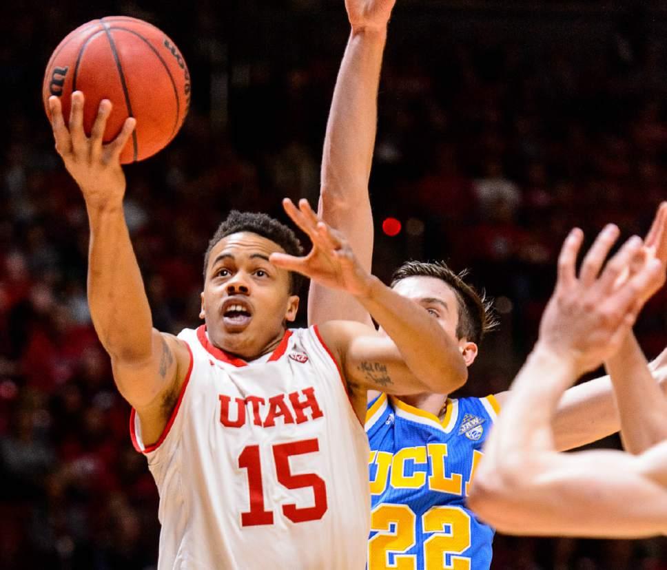 Trent Nelson     The Salt Lake Tribune Utah Utes guard Lorenzo Bonam (15) puts up a shot as the University of Utah hosts UCLA, NCAA mens basketball at the Huntsman Center in Salt Lake City, Saturday January 14, 2017.