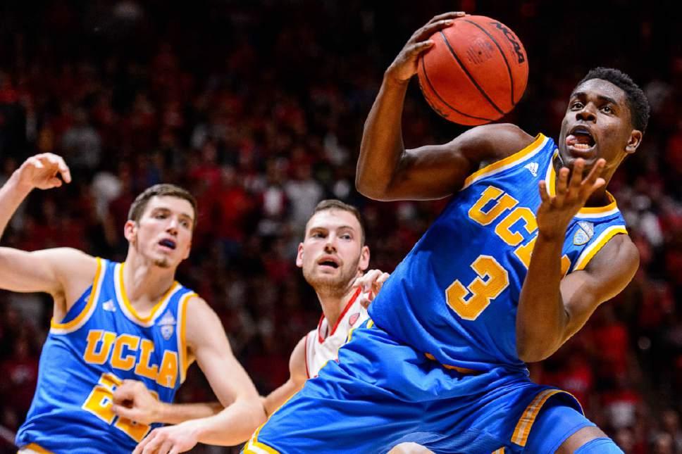 Trent Nelson     The Salt Lake Tribune Utah Utes guard Devon Daniels (3) pulls in a rebound as the University of Utah hosts UCLA, NCAA mens basketball at the Huntsman Center in Salt Lake City, Saturday January 14, 2017.
