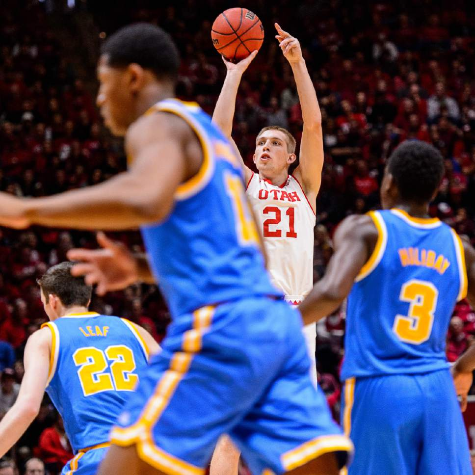 Trent Nelson     The Salt Lake Tribune Utah Utes forward Tyler Rawson (21) puts up a shot as the University of Utah hosts UCLA, NCAA mens basketball at the Huntsman Center in Salt Lake City, Saturday January 14, 2017.