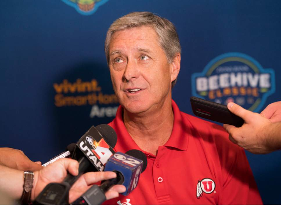 Rick Egan  |  The Salt Lake Tribune  Chris Hill, Athletic Director, University of Utah answer questions from reporters about the basketball showcase featuring BYU, Utah, USU, and Weber State, at Vivint Smart Home Arena, Thursday, July 21, 2016.