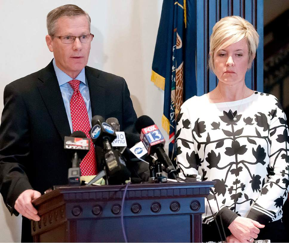 Eli Lucero  |  Herald Journal Cache County Attorney James Swink, speaks at a press conference with Jill Parker, of the Cache County Victims Advocate Group, on Tuesday in Logan.