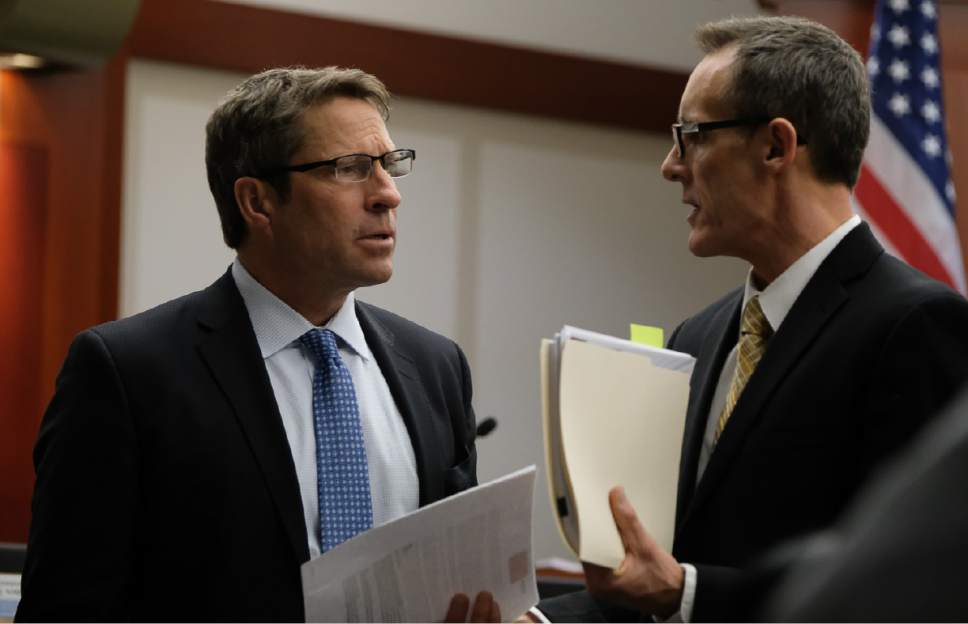 Francisco Kjolseth | The Salt Lake Tribune Defense attorney Scott C. Williams, left, speaks with Assistant Salt Lake County District Attorney Fred Burmester on day 10 of John Swallow public-corruption trial in Salt Lake City, Wednesday, February 22, 2017.
