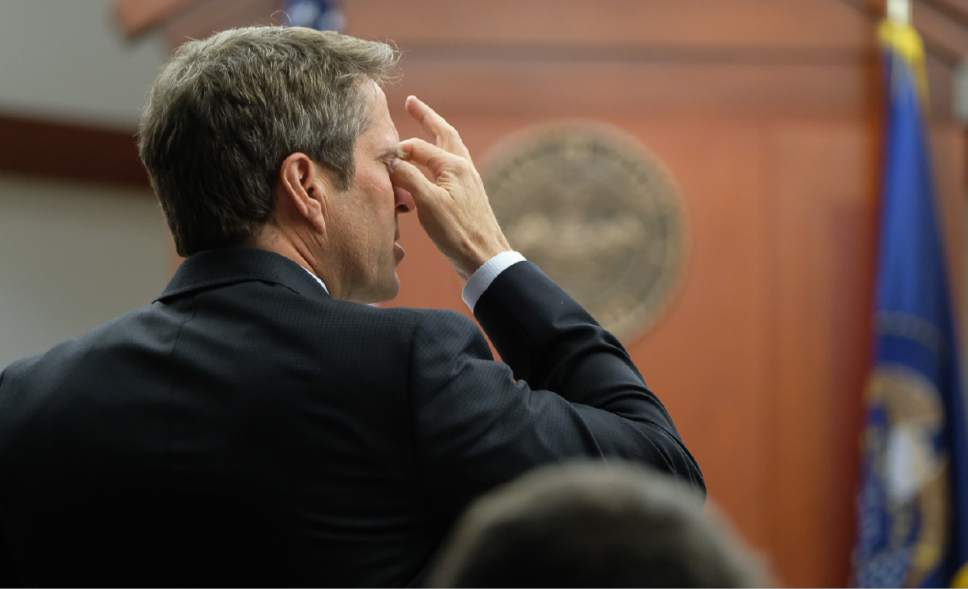 Francisco Kjolseth | The Salt Lake Tribune Defense attorney Scott C. Williams expresses his frustration as he questions FBI Special Agent Jon Isakson on the stand during the John Swallow public-corruption trial in Salt Lake City, Wednesday, February 22, 2017.