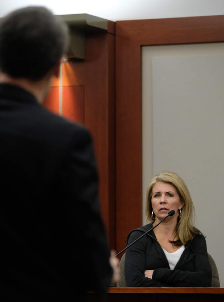 Francisco Kjolseth | The Salt Lake Tribune Jen Bell testifies on day 10 of John Swallow public-corruption trial in Salt Lake City, Wednesday, February 22, 2017.