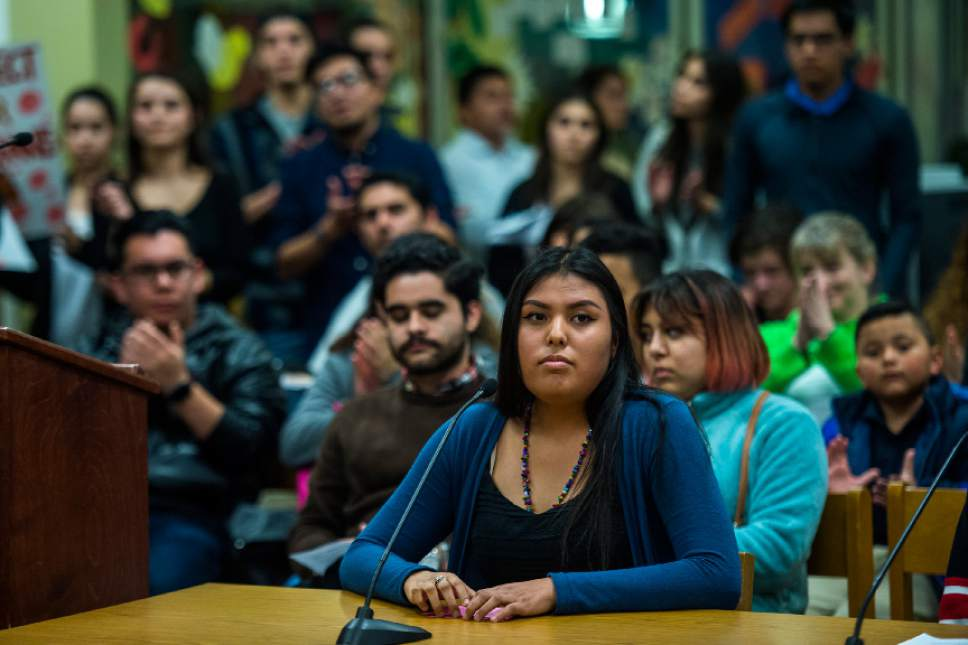 Chris Detrick     The Salt Lake Tribune Highland High School senior Tiara Willie presents a resolution to protect undocumented students to the Salt Lake City School Board at Glendale Middle School Tuesday February 21, 2017.