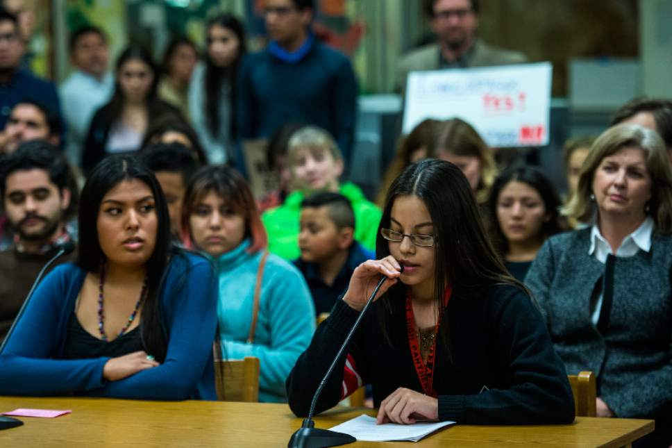 Chris Detrick     The Salt Lake Tribune West High School senior Paola Cervantes presents a resolution to protect undocumented students to the Salt Lake City School Board at Glendale Middle School Tuesday February 21, 2017.