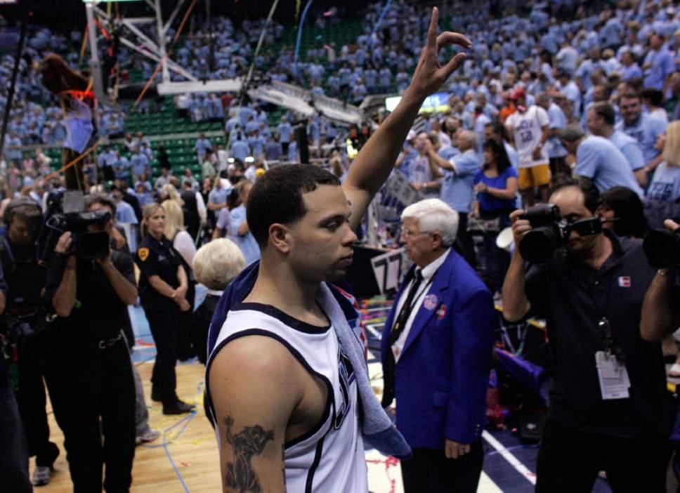 Salt Lake City, UT--5/26/07--9:12:47 PM-- Utah's Deron Williams walk off of the court after  the game at the EnergySolutions Arena. Jazz won 109-83 2nd Half.  ******** Jazz v Spurs  Chris Detrick/Salt Lake Tribune File #_E1M6020    `