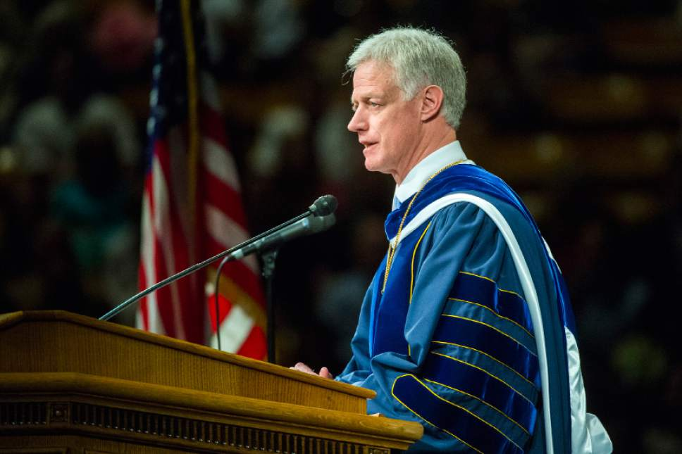 Chris Detrick  |  The Salt Lake Tribune BYU President Kevin J. Worthen speaks during Brigham Young University's Commencement Exercises at the Marriott Center Thursday April 23, 2015. A total of 5881 students from 10 colleges received degrees at the ceremonies, with 5004 students receiving bachelor's degrees, 692 students receiving master's degrees and 185 receiving doctoral degrees.