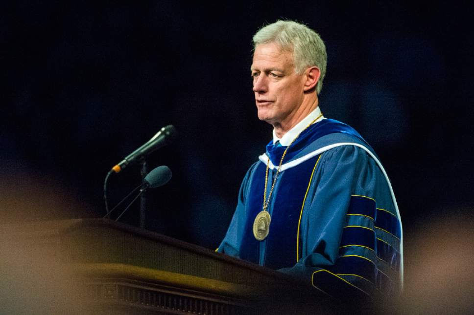 Chris Detrick  |  The Salt Lake Tribune BYU President Kevin J. Worthen speaks during the Commencement Services at the Marriott Center Thursday April 21, 2016.