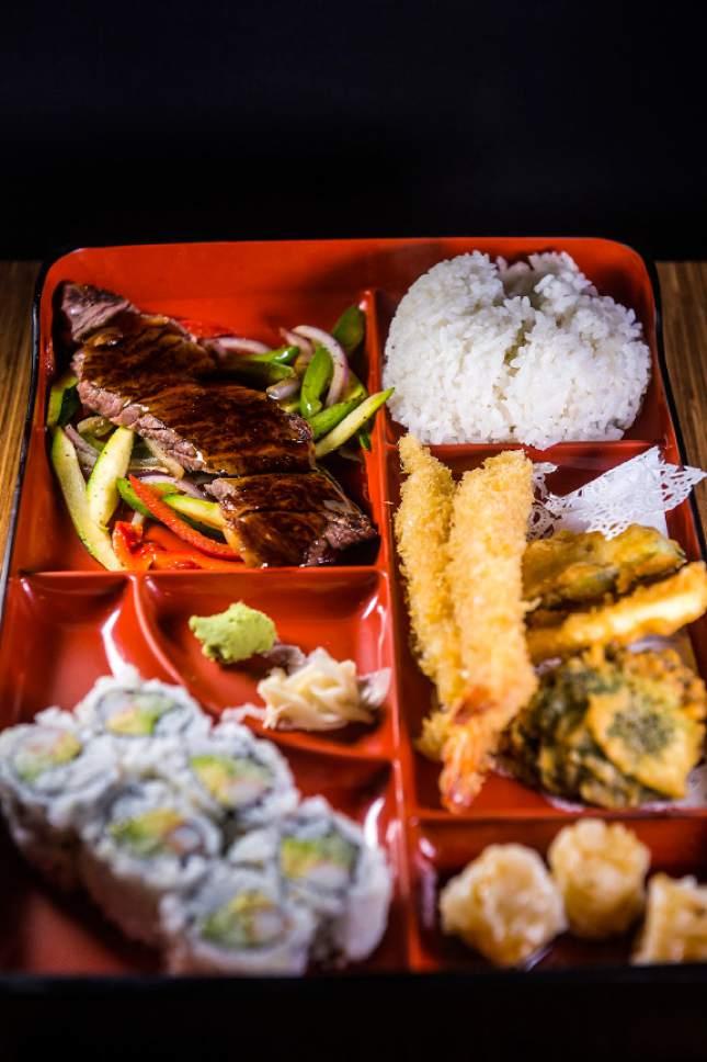 Chris Detrick  |  The Salt Lake Tribune Beef teriyaki box with tempura vegetables, white rice, shumai and a California roll ($16.95)at Mizu Japanese Cuisne in West Valley City.