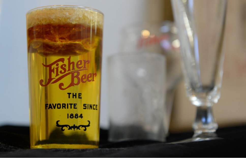 Francisco Kjolseth | The Salt Lake Tribune Fisher Brewing Co. memorabilia is still on hand at Ken Sanders Rare Books. The brewery, first opened in 1884 and finally closed in the 1960 is being reopened.