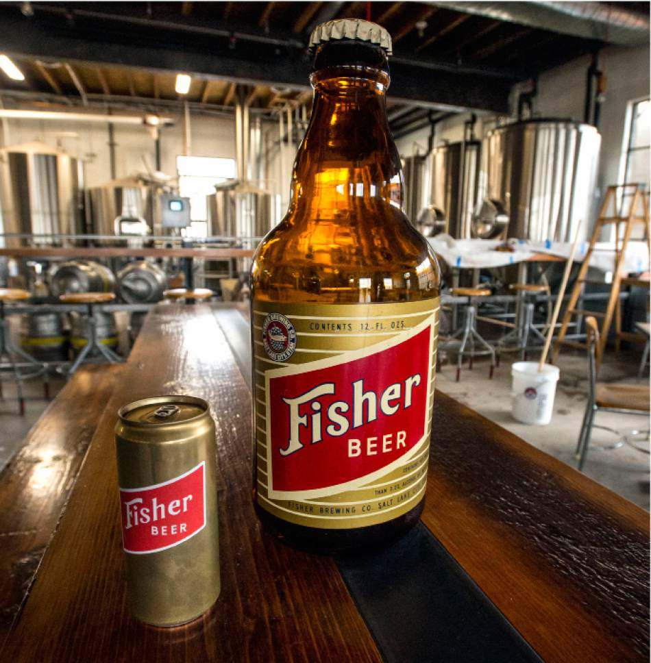 Steve Griffin  |  The Salt Lake Tribune    An original giant plastic beer bottle and a current can of beer for the A. Fisher Brewing Co., one of the oldest names in Utah beer history. The brewery makes a modern-day comeback this month.