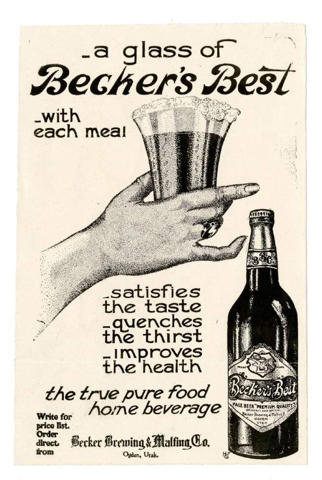 A newspaper ad, circa 1910, promoting beer made by The Becker Brewing and Malting Factory, in Ogden. Courtesy image