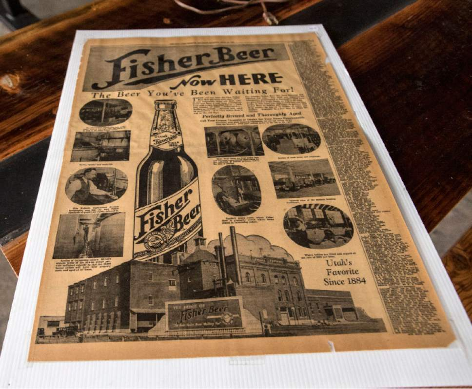 Steve Griffin  |  The Salt Lake Tribune    An original newspaper ad for the A. Fisher Brewing Co., one of the oldest names in Utah beer history. The brewery makes a modern-day comeback this month. Tom Fisher Riemondy, one of five partners who have resurrected A. Fisher Brewing Co., is the great-great grandson of Albert Fisher, a German immigrant who founded the original brewery in Utah in 1884.