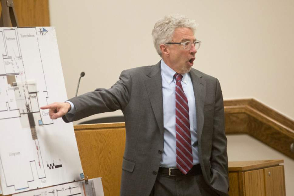 Mark Moffatt, the defense attorney, gives his closing arguments during the coming arguments for the new Conrad Truman murder trail on Thursday, Feb. 23, 2017 at the Fourth Judicial District Court in Provo.  Sammy Jo Hester, Daily Herald