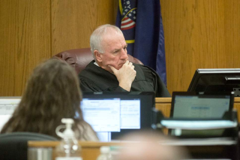 Judge Samuel D. McVey watches the defense attorney speak during the coming arguments for the new Conrad Truman murder trail on Thursday, Feb. 23, 2017 at the Fourth Judicial District Court in Provo.  Sammy Jo Hester, Daily Herald