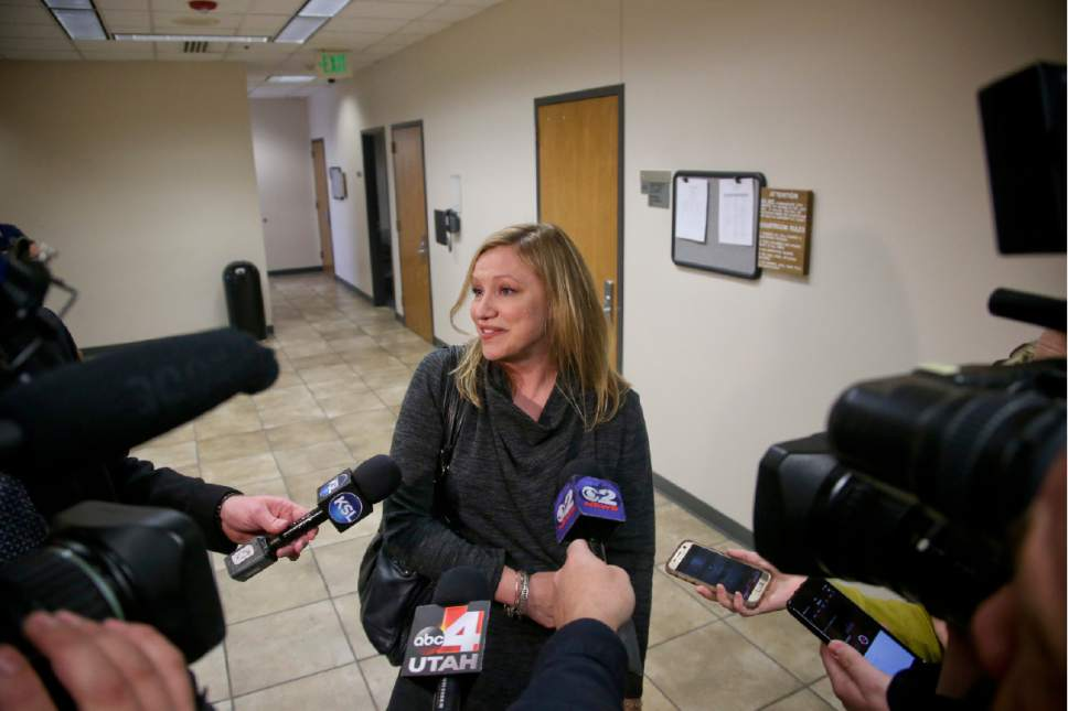 Colette Dahl speaks to the media after the jury found Conrad Truman not guilty in the murder trial of his wife  Friday, Feb. 24, 2017 in Provo. DOMINIC VALENTE, Daily Herald