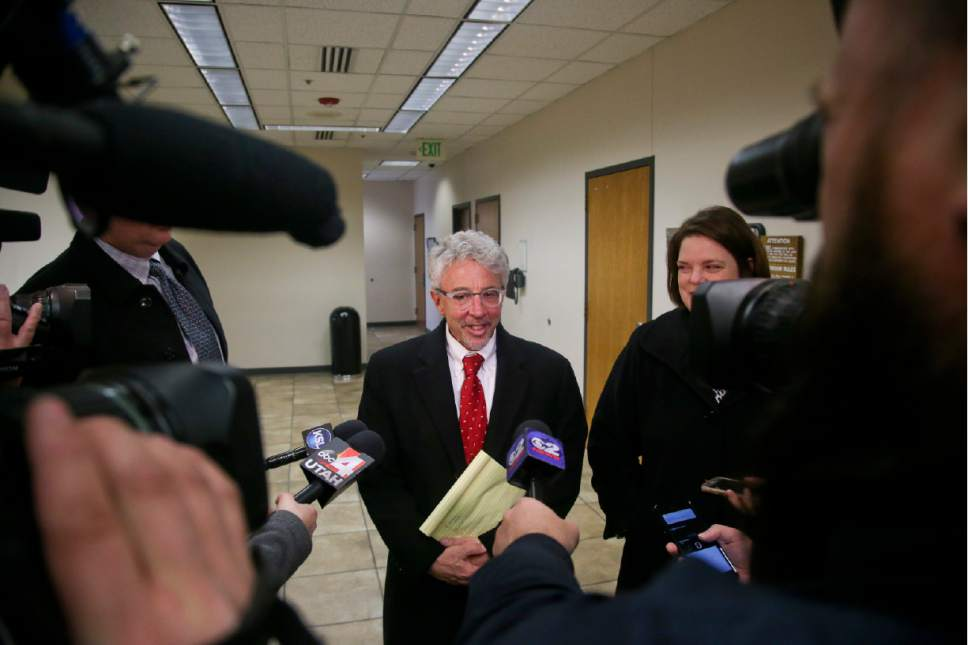 Attorney Mark Moffat speaks to the media after the jury found Conrad Truman not guilty in the murder trial of his wife  Friday, Feb. 24, 2017 in Provo. DOMINIC VALENTE, Daily Herald