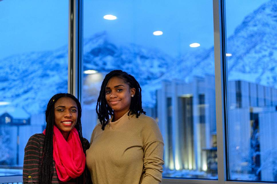 Trent Nelson  |  The Salt Lake Tribune BYU students Dhina Clement and Johnisha Demease-Williams on campus in Provo on Thursday.