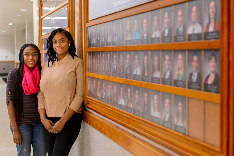 Trent Nelson  |  The Salt Lake Tribune BYU students Dhina Clement and Johnisha Demease-Williams on campus in Provo Thursday February 23, 2017.