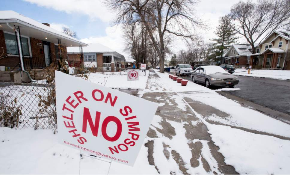 Steve Griffin  |  The Salt Lake Tribune   Green Street and Simpson Avenue neighborhood near the site of a proposed new Salt Lake City homeless shelter in Salt Lake City Friday February 24, 2017. Salt Lake City is going to build two, not four, homeless resource centers eliminating the Simpson Avenue site.