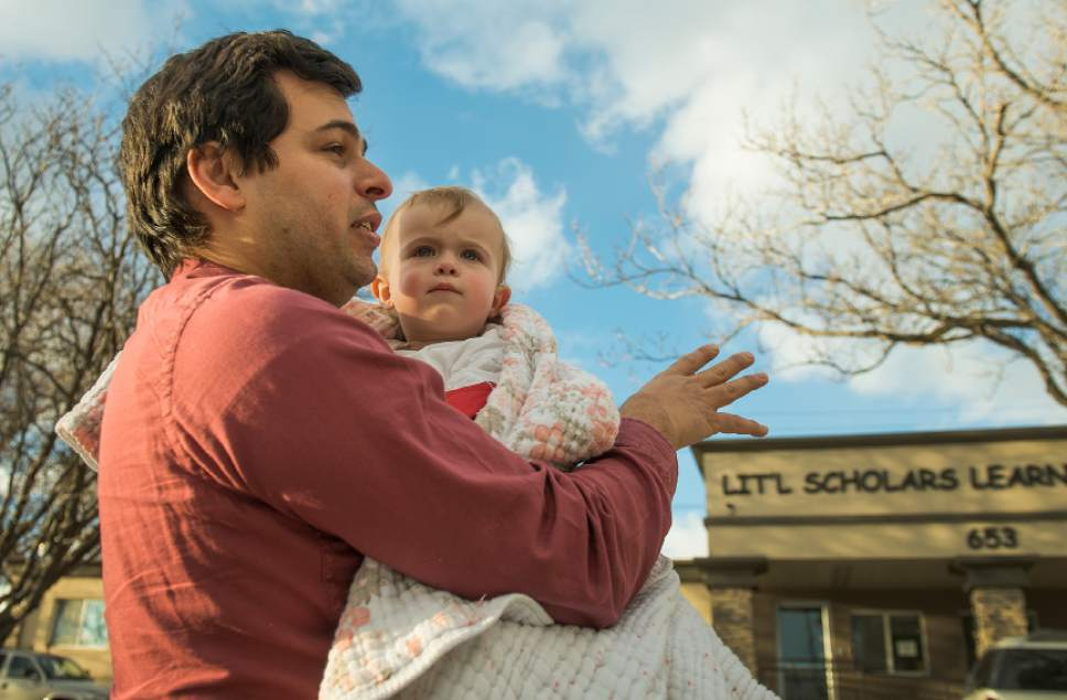 Leah Hogsten  |  The Salt Lake Tribune Mazen Bahsoun holds his daughter Nour after picking her up from Lil Scholars Learning Academy, Friday, February 24, 2017.  Salt Lake City Mayor Jackie Biskupski announced that the city will not move forward with the controversial Simpson Avenue site, nor the resource center that was planned for 648 W. 100 South, near the existing Road Home shelter. The planned resource centers at 275 W. High Ave. and 131 E. 700 South will be built to a larger capacity ó going from 150 to 200 beds each.