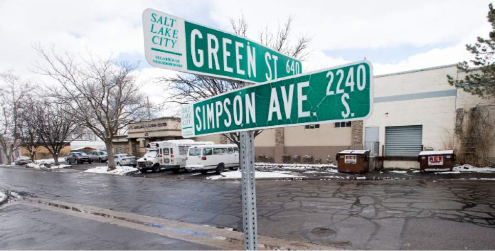 Steve Griffin  |  The Salt Lake Tribune   Green Street and Simpson Avenue near the site of a proposed new Salt Lake City homeless shelter in Salt Lake City Friday February 24, 2017. Salt Lake City is going to build two, not four, homeless resource centers eliminating the Simpson Avenue site.