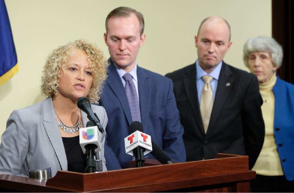 Francisco Kjolseth | The Salt Lake Tribune Salt Lake City Mayor Jackie Biskupski is joined by other Utah leaders in announcing that the city is dropping two of four planned homeless resource centers during a press announcement at the Utah Capitol on Friday, February 24, 2017. To her right are Salt Lake County Mayor Ben McAdams, Lt. Gov. Spencer Cox and homeless advocate Pamela Atkinson.