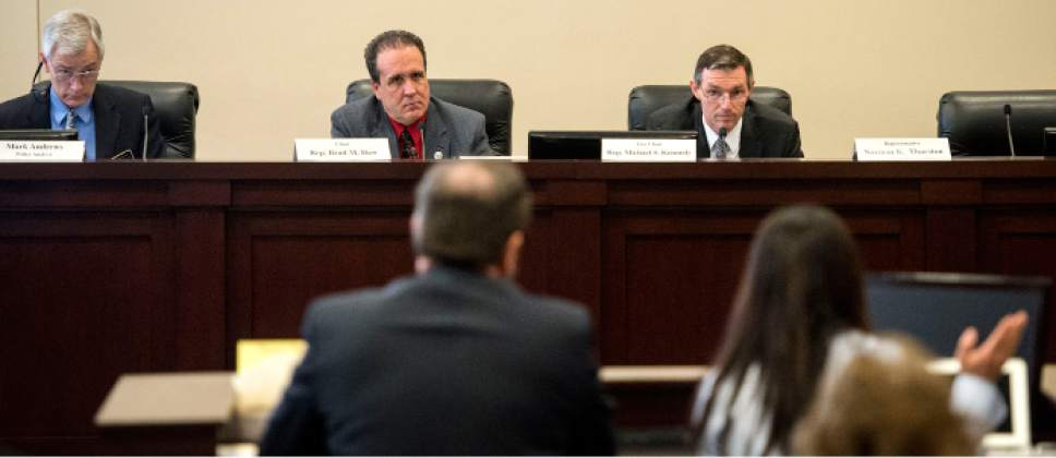Steve Griffin  |  The Salt Lake Tribune   House Minority Leader Brian King, D-Salt Lake City, , front center, explains HB384 to members of the House Health and Human Services Committee in the Senate Building  in Salt Lake City Thursday February 23, 2017. The bill would strike down a rule requiring an abortion provider to have admitting privileges at a nearby hospital. A similar Texas law was struck down as unconstitutional.