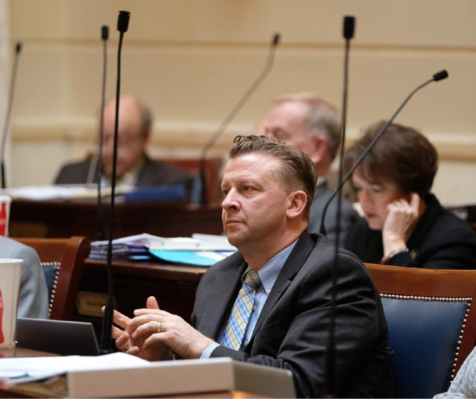Francisco Kjolseth   The Salt Lake Tribune Senator Todd Weiler, R-Woods Cross, at the Utah Capitol on Friday, February 24, 2017.