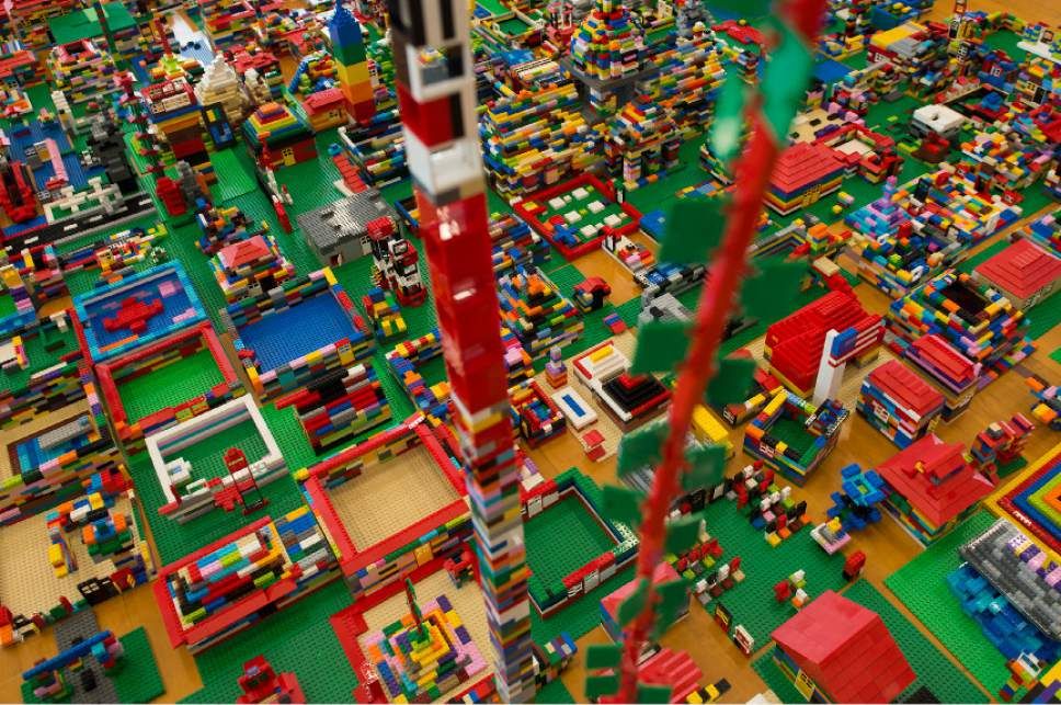 Leah Hogsten  |  The Salt Lake Tribune The finished additions of the LEGO city spreads across the gymnasium floor of the Gene Fullmer Rec Center. Over 800 kids sorted through 50,000 pieces of LEGOs to make additions to the Salt Lake Valley out of LEGO in the hopes of getting kids interested in engineering and other STEM and STEAM-related fields at the Gene Fullmer Recreation Center on Saturday.