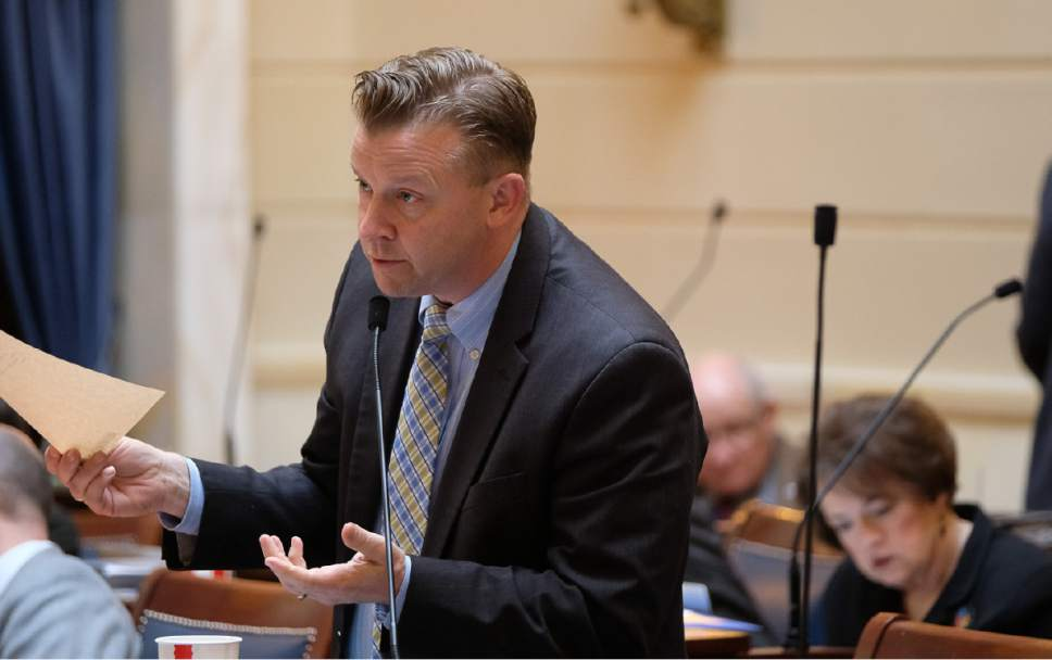 Francisco Kjolseth   The Salt Lake Tribune Sen. Todd Weiler, R-Woods Cross, pushes to allow barbers to legally perform brief neck massages on customers during wisecracking discussion on SB172 at the Utah Capitol on Friday, February 24, 2017.
