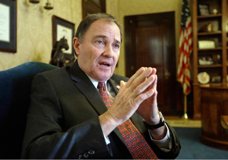 "FILE - In this March 10, 2016, file photo, Utah Gov. Gary Herbert speaks during an interview in Salt Lake City. Organizers of a lucrative outdoor trade show that's been held twice yearly in Utah for two decades say they will continue looking for a new home after hearing ""more of the same"" on public lands from Herbert during a conference call Thursday, Feb. 16, 2017. (AP Photo/Rick Bowmer, File)"