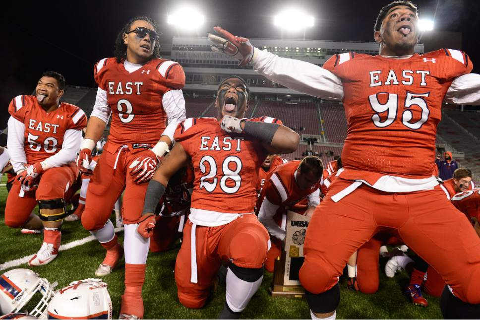 Scott Sommerdorf   |  The Salt Lake Tribune East players do the Haka after East beat Timpview 49-14 for the Utah 4A championship, Friday, November 20, 2015. No. 53, offensive lineman Johnny Maea, committed to play college ball for the U. in early December.