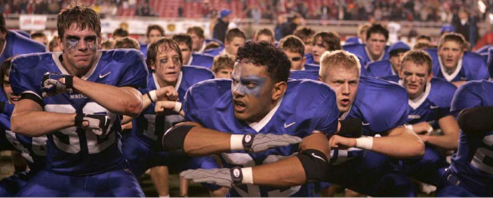 Trent Nelson  |  The Salt Lake Tribune   Douglas Fiefia (center, 39) leads Bingham in a Haka dance after they defeated Alta, in the 5A state championship game, at Rice-Eccles Stadium on November 17, 2006.