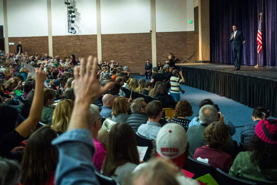 Chris Detrick     The Salt Lake Tribune U.S. Rep. Jason Chaffetz, R-Utah, speaks to a question during the town-hall meeting in Brighton High School Thursday February 9, 2017.