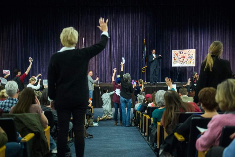 Chris Detrick     The Salt Lake Tribune U.S. Rep. Jason Chaffetz, R-Utah, speaks during the town-hall meeting in Brighton High School Thursday February 9, 2017.