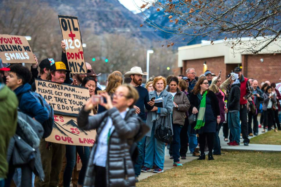 Chris Detrick  |  The Salt Lake Tribune Crowds of people line up before the town-hall meeting with U.S. Rep. Jason Chaffetz, R-Utah, outside of Brighton High School Thursday February 9, 2017.