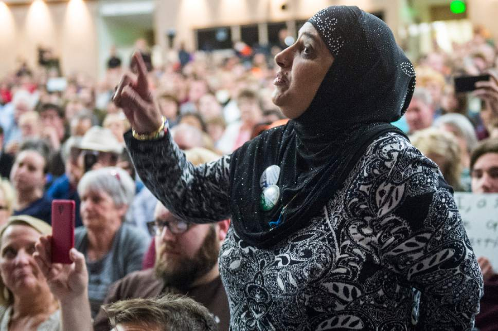 Chris Detrick     The Salt Lake Tribune Noor Ul-Hasan asks a question during the town-hall meeting with U.S. Rep. Jason Chaffetz, R-Utah, in Brighton High School Thursday February 9, 2017.