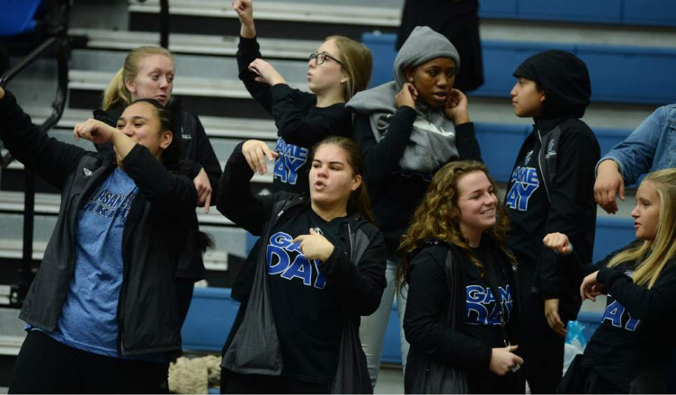 Steve Griffin  |  The Salt Lake Tribune   Pleasant Grove students dane to the music during the girl's 5A basketball tournament between Layton and Pleasant Grove at the SLCC gym in Salt Lake City Monday February 20, 2017