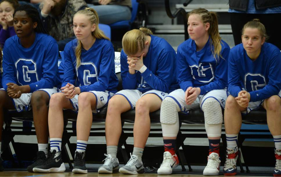 Steve Griffin  |  The Salt Lake Tribune   Pleasant Grove players watch nervously from the bench as the battle Layton during the girl's 5A basketball tournament at the SLCC gym in Salt Lake City Monday February 20, 2017