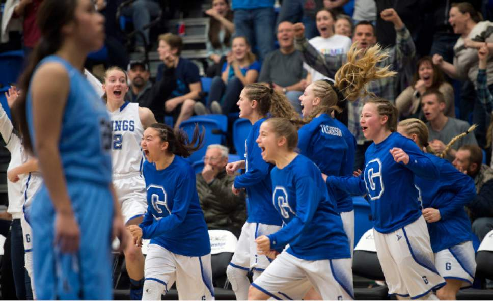 Steve Griffin  |  The Salt Lake Tribune   Pleasant Grove celebrates their last second victory over Layton during the girl's 5A basketball tournament at the SLCC gym in Salt Lake City Monday February 20, 2017
