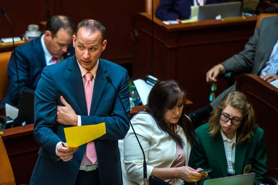Chris Detrick  |  The Salt Lake Tribune Rep. Justin L. Fawson (R-North Ogden) discusses H.B. 93, Judicial Nominating Process Amendments, at the Utah State Capitol Wednesday February 15, 2017.