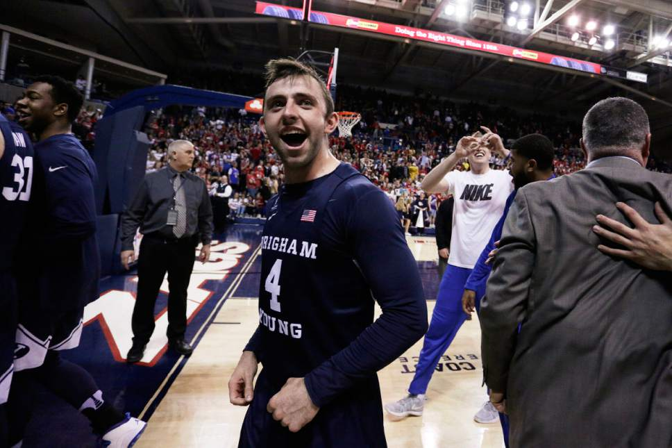 BYU guard Nick Emery (4) celebrates after BYU defeated No. 1 Gonzaga 79-71 in an NCAA college basketball game in Spokane, Wash., Saturday, Feb. 25, 2017. (AP Photo/Young Kwak)