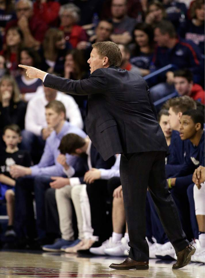 Gonzaga head coach Mark Few directs his team during the first half of an NCAA college basketball game against BYU in Spokane, Wash., Saturday, Feb. 25, 2017. (AP Photo/Young Kwak)